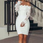 US Women Sexy Lace Slash Neck Off Shoulder Cocktail Party Evening Elegant Dress