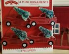 NEW CHRISTMAS SET OF 4 MINI RED PICKUP TRUCKS WITH CHRISTMAS TREES