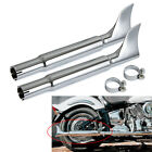 Pair Chrome Slip On Fishtail Mufflers Exhaust Pipes For Harley Softail Fat Boy