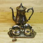 Antique Tea Pot Creamer Sugar Bowl Tray Fork Set Silver Plate Aged Patina
