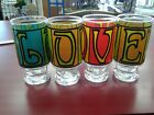 Anchor Hocking Groovy 1970s Pop Art LOVE Drinking Bar Glasses Tumblers set of 4