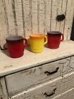Lot 3  Vintage FIRE KING Ware Stackable Coffee Cup Mugs Ombre Red And Yellow
