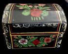 Antique Wooden Hand Painted Box Miniature Black Roses Hinged