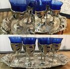 Vintage Ornate Silver Plated Cordial Goblet Shot Glass Set Of 6 With Tray