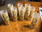 Giraffe frosted glasses tall and small giraffe painted abt. 16 oz vintage 8 tota