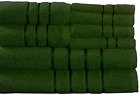 Lavish Home 8 Piece 100% Cotton Plush Bath Towel Set - Green