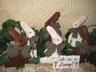 Set of 6 fabric rabbits basket bowl fillers Prim Country Easter Home Decor