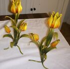 Antique Vintage Chic ITALIAN Metal TOLE FLOWERS tulip Candle Holders (Pair)