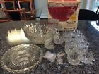 VINTAGE BROCKWAY WILLIAMSPORT GLASS PUNCH BOWL SET and Serving Platter