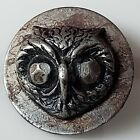 Antique Vintage Owl Button Cut Steel Metal With Loop Shank 1/2