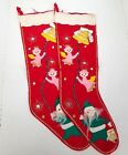 Vintage Felt Christmas Stocking Red Santa Angels Made In Japan Lot of 2 1960s