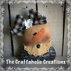 * primitive raggedy doll * SNOWMAN * SNOW GIRL snowflake black tan SHELF SITTER