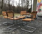 4 MCM Vintage MARCEL BREUER cesca Cane DINING CHAIRS arm Made In ITALY knoll era
