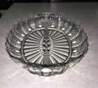 Vintage Clear Glass Divided Relish Dish Scalloped edge with handles - 12 inches