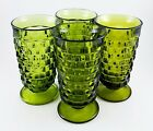 Vtg Indiana Glass Olive/Avacado Green Whitehall 14oz Glasses/Tumblers EXC. COND!