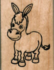 mounted rubber stamp Baby Donkey wood mount size 1 3 4 X 2 1 4