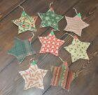 8 Quilted STAR Ornies CHRISTMAS Tree Primitive Decor Hanging Ornaments Flats