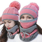 Women Beanie Ski Cap  Womens Knit Beanie Hat+Scarf Neck Warm Winter Knitted BXQ