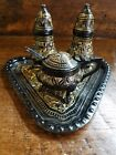 Vintage salt and pepper shakers Metal with Brass Inlay Condiment Table Set