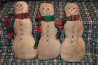 3 Primitive SNOWMAN Ornies Tucks Fillers Dolls CHRISTMAS Shelf Sitters Make Do's