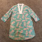 Lilly Pulitzer Pink Green Seahorse Tunic Top Size S GUC Womens