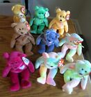 Beanie Babies Lot of 9 Assorted BEARS CURLY-BB BEAR-GROOVY-HOPE-WATTLIE-SUNNY+