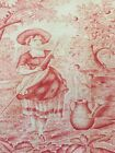 Antique French Toile Red and White Floral Scrolls Roses Birds Fox