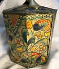Painted Tin Container with Lid and Handle Toleware 8 Sided Vintage