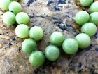 ANTIQUE CHINESE NATURAL JADE JADEITE APPLE GREEN 15mm D BEADS NECKLACE 11