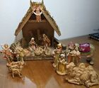 Vintage FONTANINI Depose Italy Nativity Set of 16 Figures with Creche Stable