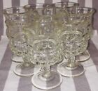 8 Clear Kings Crown Thumbprint Glass Wine Sherry Brandy or cordial glasses