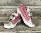 Girls Pink Silver Glittery Canvas Sneakers Roebuck  Co Size 9