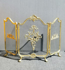 Vintage Large French Provincial Brass Gold Fireplace Screen 3 Panels