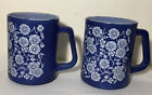 2 1950's Federal Glass C0.. Milk Glass with blue Floral decoration mugs