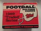 New Topps 1989 Traded Series Football Picture Cards Set Card Numbers 1T - 132T