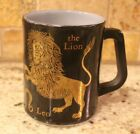 Vintage Federal Glass Leo The Lion Zodiac Black Milk Glass Coffee Mug - USA