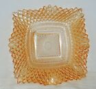 VINTAGE INDIANA CARNIVAL GLASS DIAMOND POINT SQUARE RUFFLED EDGE CANDY DISH