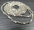 Vintage Sterling Silver Long Twisted Unique Chain Link Necklace 38 inches