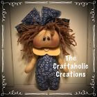 * CUSTOM primitive raggedy doll COUNTRY blue GIRL brown hair PERSONALIZED