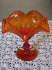 Vintage Orange Diamond Point Comport / Footed Candy Dish Ruffled Rim