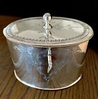 BEAUTIFUL OVAL TEA CADDY, GEORGIAN STYLE SHEFFIELD PLATE SILVER , CIRCA 1870