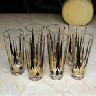Set of 7 Vintage MCM Anchor Hocking 7'' Bar Tumblers Gold and Black Arrows
