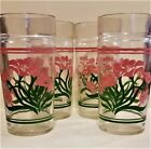 VTG Retro Libby Drinking Glass Tumblers Set of 4 with Pink Flowers