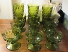 VINTAGE INDIANA GLASS WHITEHALL FOSTORIA AMERICAN GREEN FOOTED GLASSES