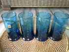 Vtg Mid Century Italian Hand Made Set of 4 Art Glass Tumblers/Drinking Glasses