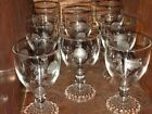 8 EXCELLENT VINTAGE AHC7 BOOPIE JUICE/WINE GLASSES W/ETCHED ROSES 4 1/2