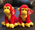 2 Ty Beanie Baby Plush CHOPSTIX the RED & YELLOW MONKEY 2003 Retired