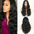Heat Resistant Hair Long Black Wavy Glueless Synthetic Lace Front Wigs Natural