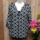 Crown And Ivy Blouse MEDIUM navy Blue With Yellow Bees V Neck 3 4 Sleeves