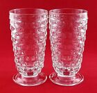 Vtg Indiana Glass Whitehall Colony Clear Footed Tumblers (2) EXCELLENT CONDITION